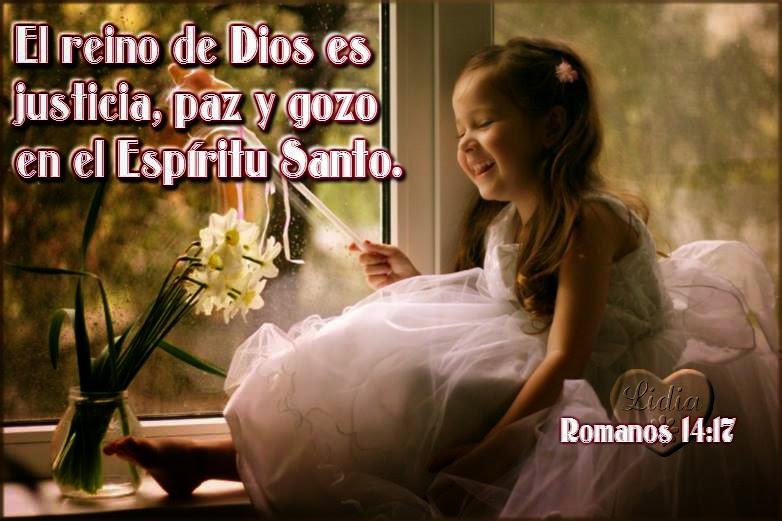 Postal cristiana con versiculo Romanos 14:16 del reino de los cielos