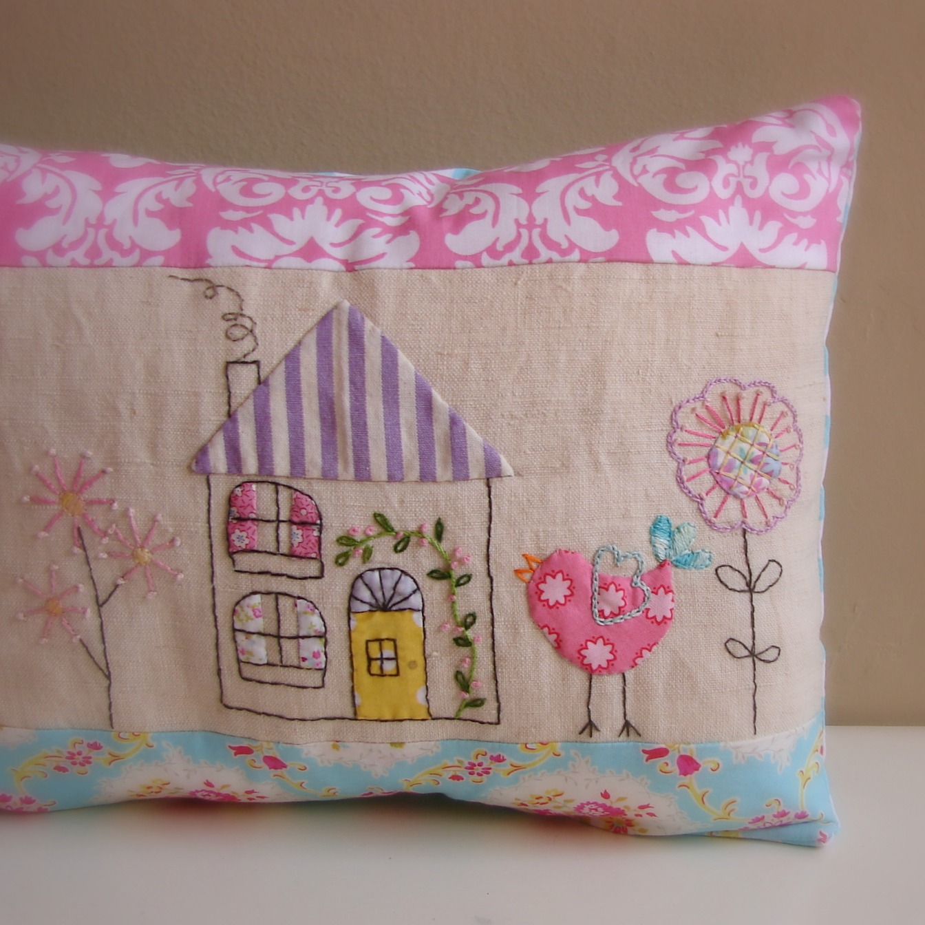 Cushion bird house applique embroidery | Randi Sal Finishes