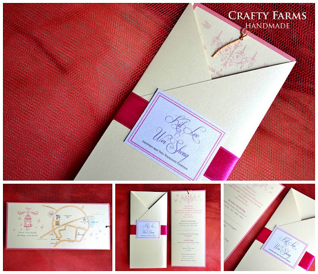 Pink Vintage Chandelier Handmade Wedding Pocket Card