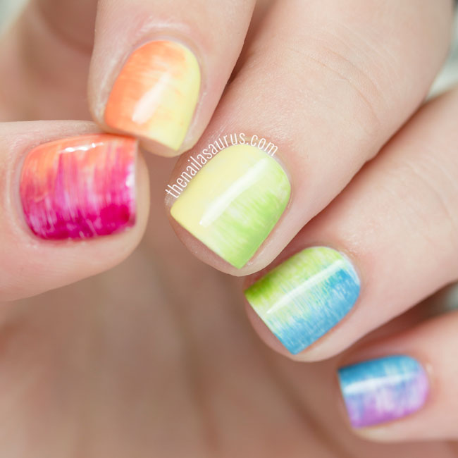 31DC2015: Streaky Rainbow Nails