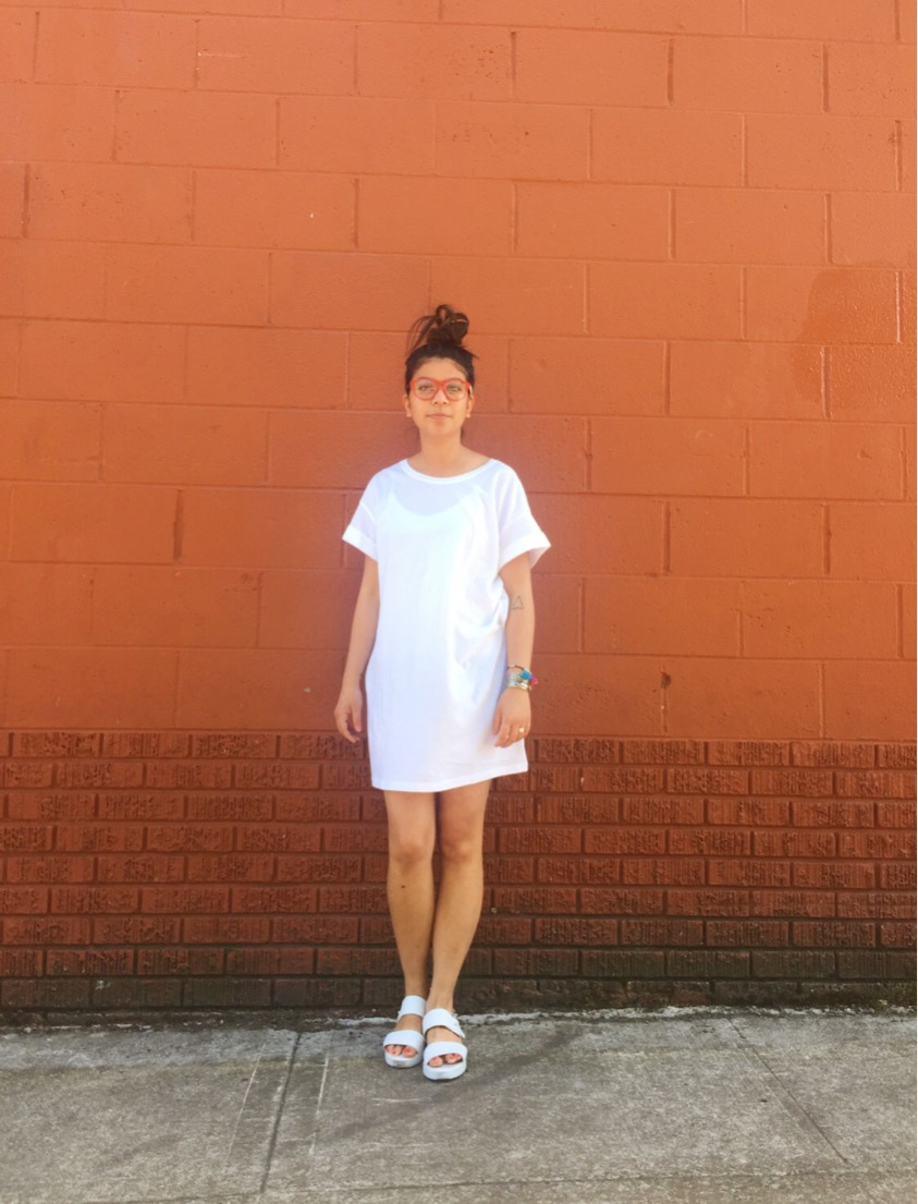 white shift dress, h&m, white sandals, ootd, monochromatic look, fashion blogger, portland blogger, wiwt, summer look, topshop,