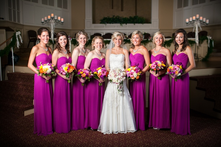 Raining Blossoms Bridesmaid Dresses: Fuchsia Bridesmaid Dress in Fall