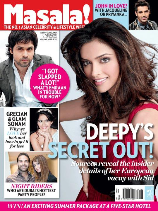 Deepika Padukone On Masala Magazine Cover July 2011 Edition