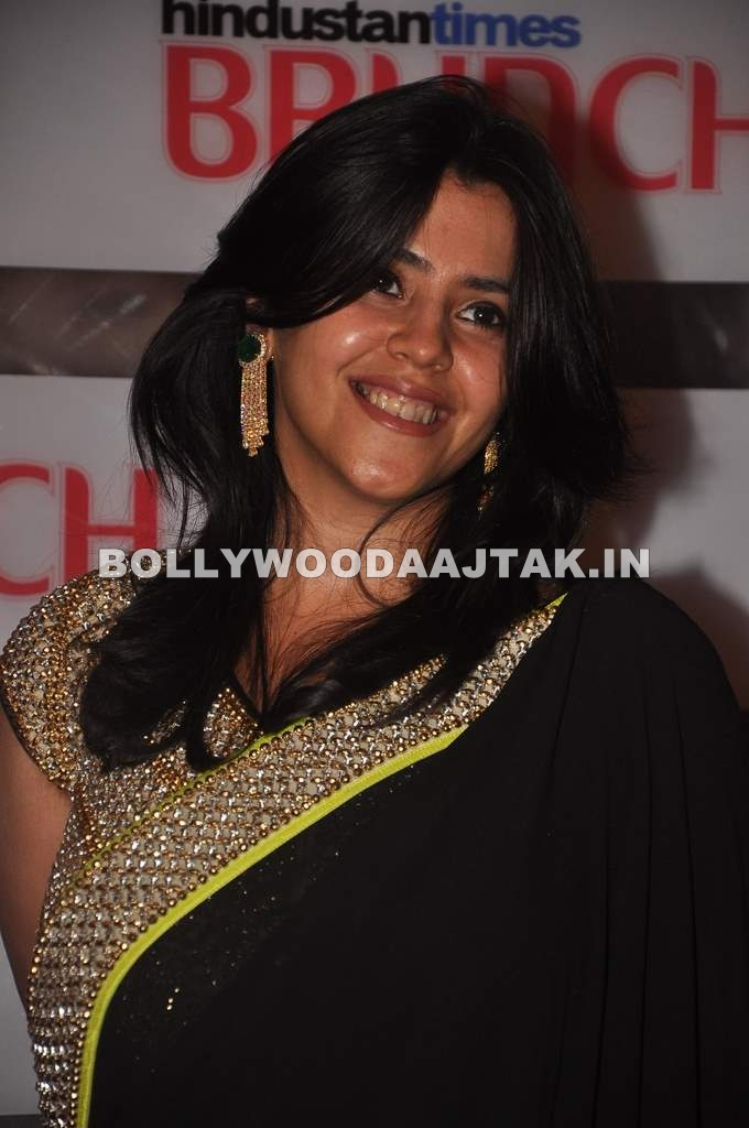 Ekta kapoor in black saree - Ekta kapoor in saree at the HT Brunch Dialogues event