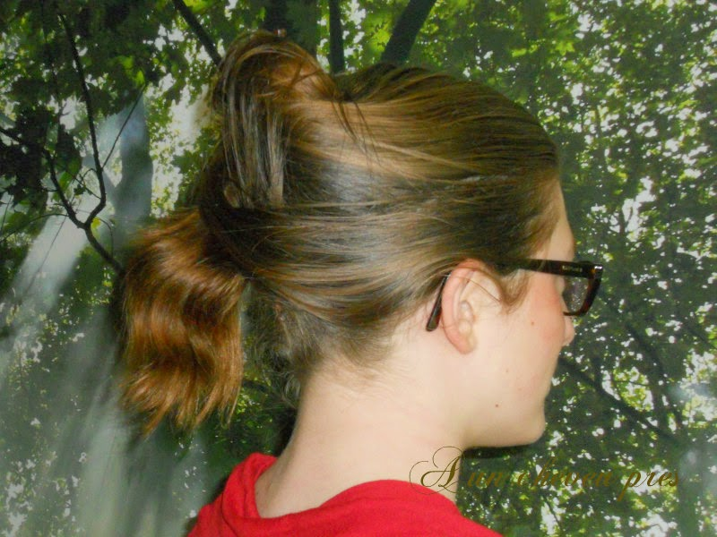 Chignon et demi queue avec un crayon mini journal de pousse a un cheveu pr s - Demi queue chignon ...