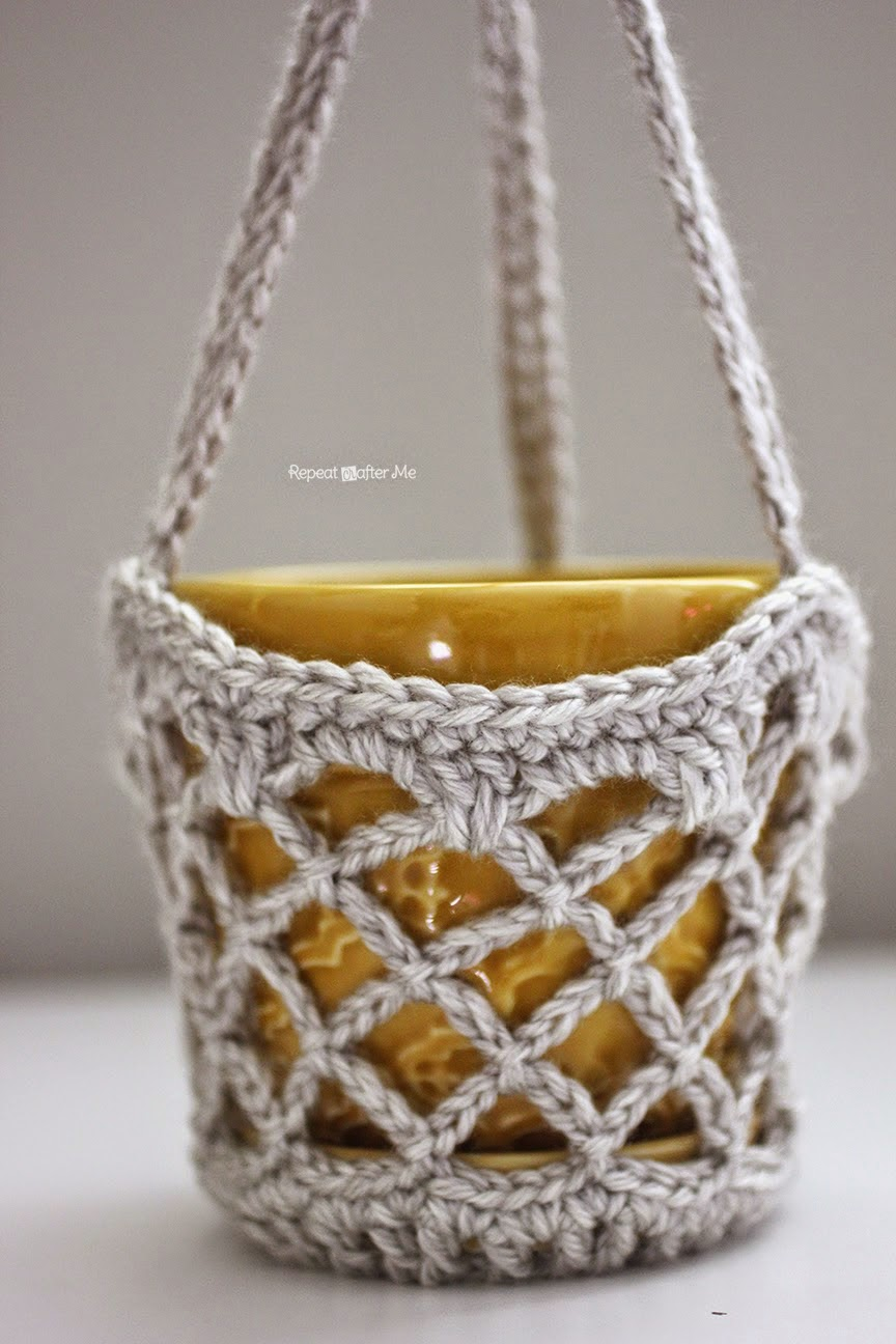 Free Crochet Flower Basket Pattern : Tangled happy flower pot hanging basket