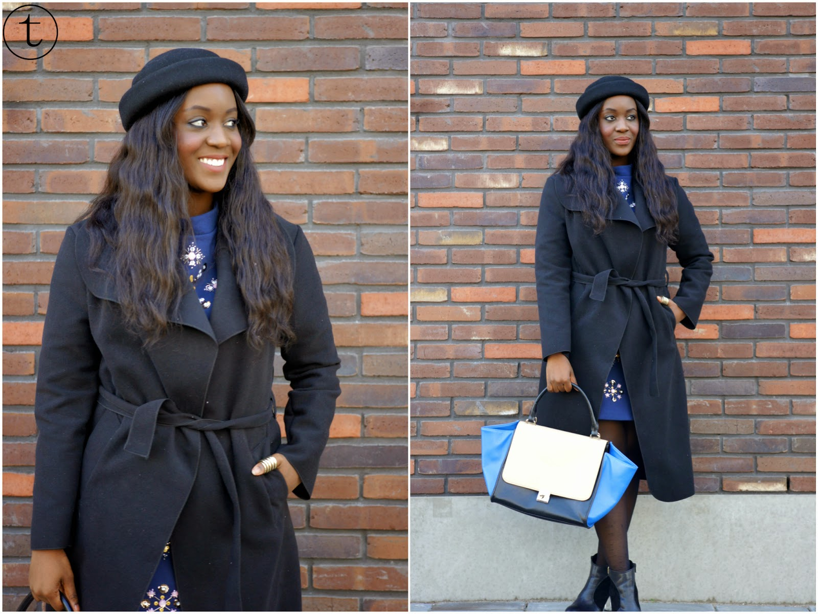 black coat with black hat