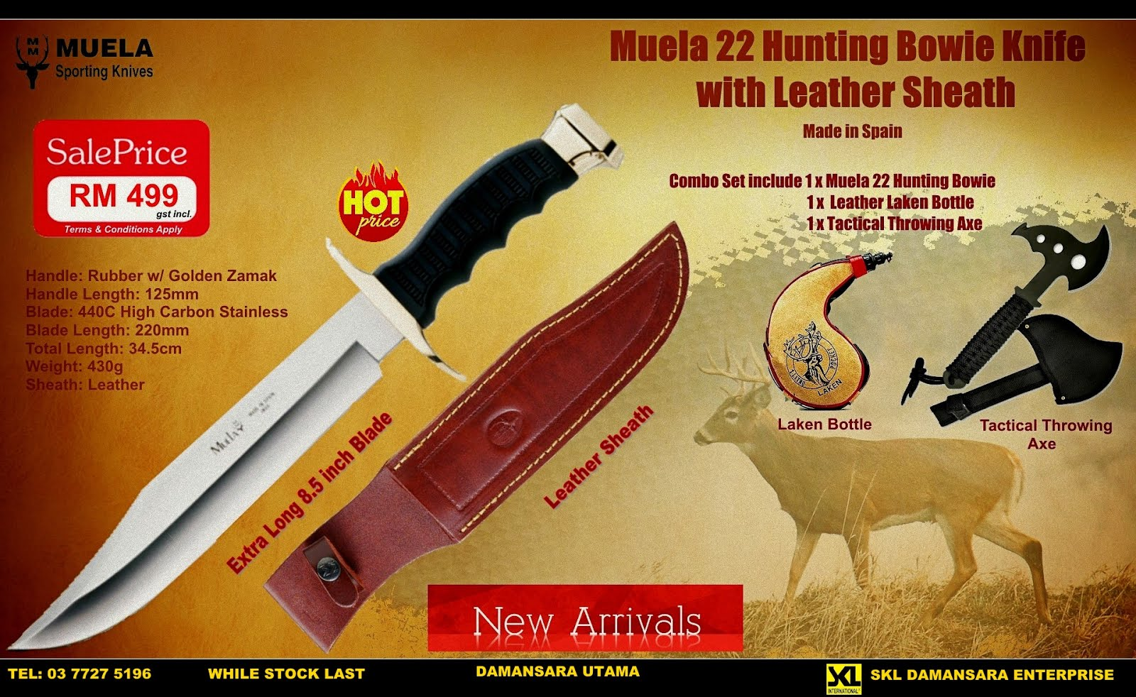 Muela 22 Extra Large Hunting Bowie Knife 8.5 inch Blade