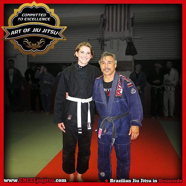 Brazilian Jiu Jitsu Professor Michio Grubbs with student Cassidy Rozanski