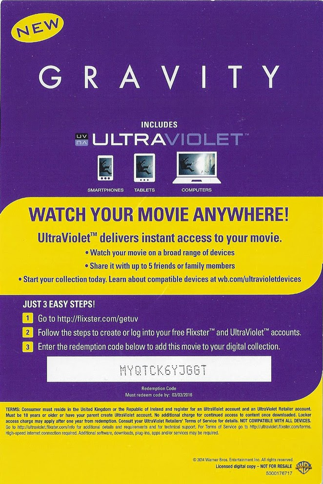 your free daily ultraviolet uv codes for movies gravity free ultraviolet code. Black Bedroom Furniture Sets. Home Design Ideas