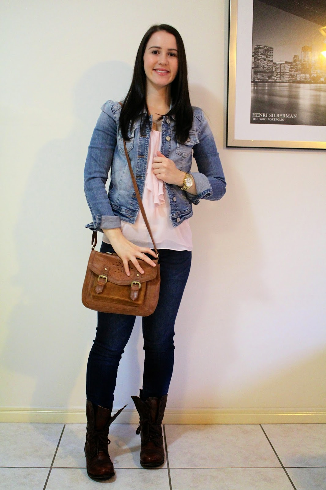 dark wash denim jeans, blush camisole top, denim jacket, brown combat boots, brown satchel bags, gold michael kors watch, uni outfit, college outfit, everyday outfit, petite outfit, fashion, ootd,