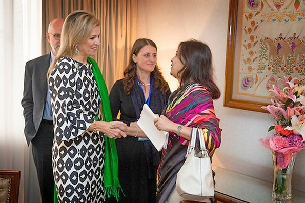 Queen Maxima of The Netherlands meets with President Abdul Hamid, Prime minister Skeikh Hasina, Finance Minister Muhith and Telecommunications minister Tarana Halim at Gonobhaban Palace