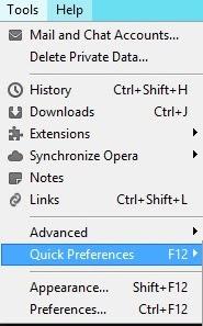 Opera Quick Preference