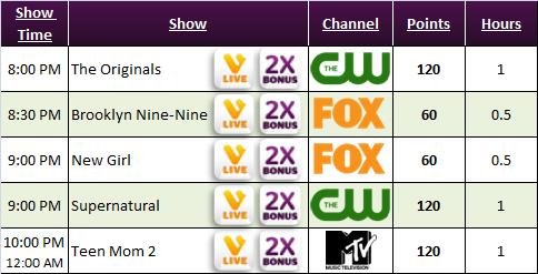 Viggle Schedule more bonus shows :- The Originals, Brooklyn Nine-Nine, New Girl, Supernatural, Teen Mom 2