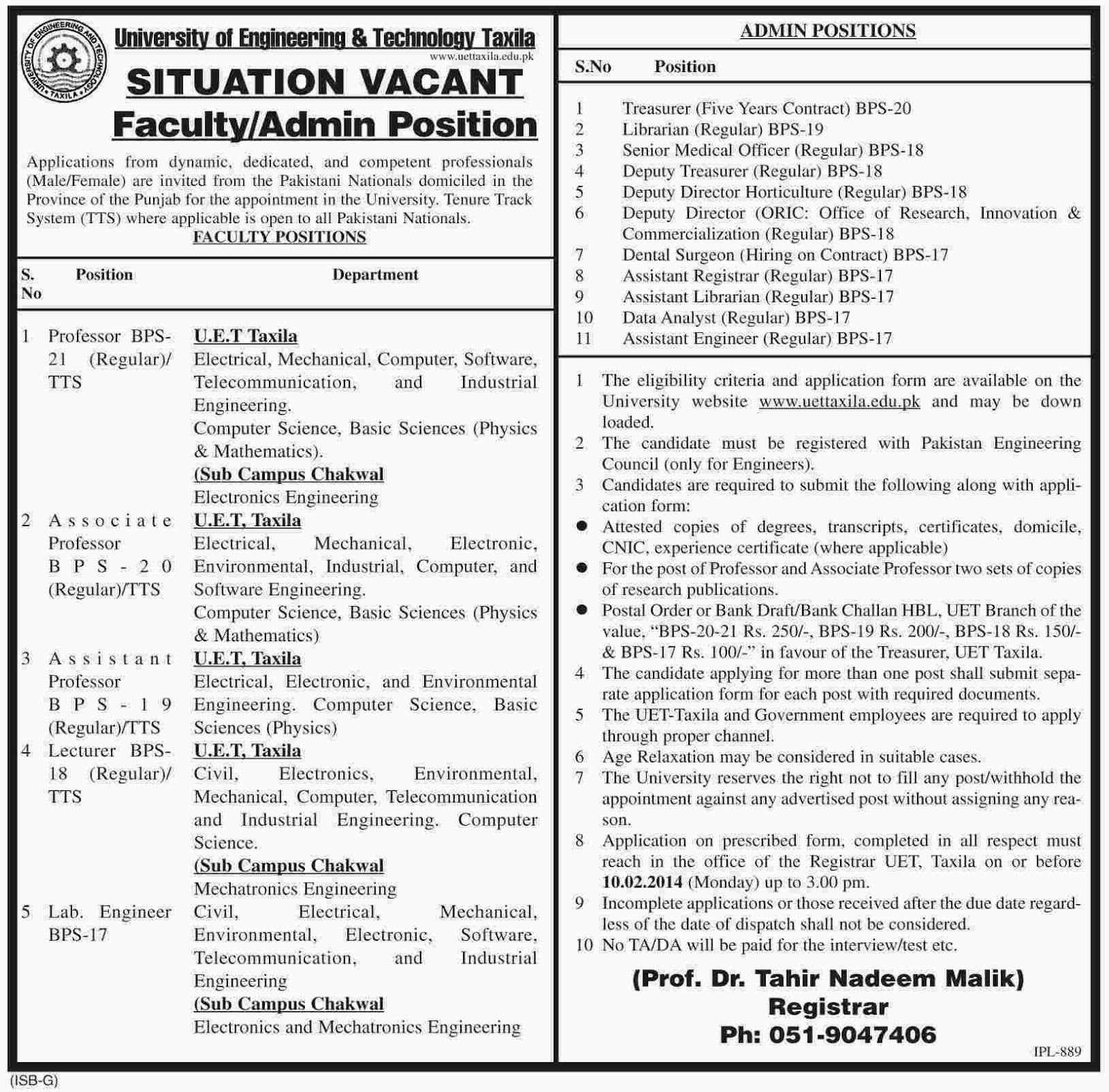 Vacancies in University of Engineering and Technology Taxila, Punjab