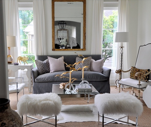 Grey White and Gold Living Room