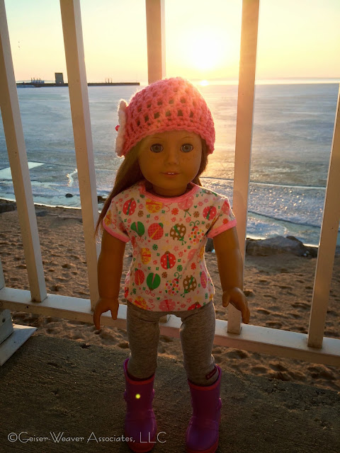 Mackinaw visit, cold ladybug and leggings outfit by Geiser-Weaver Associates, LLC