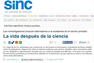 http://www.agenciasinc.es/Reportajes/La-vida-despues-de-la-ciencia
