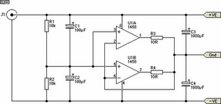 Dual OpAmp Power Supply Circuit Schematic Diagram