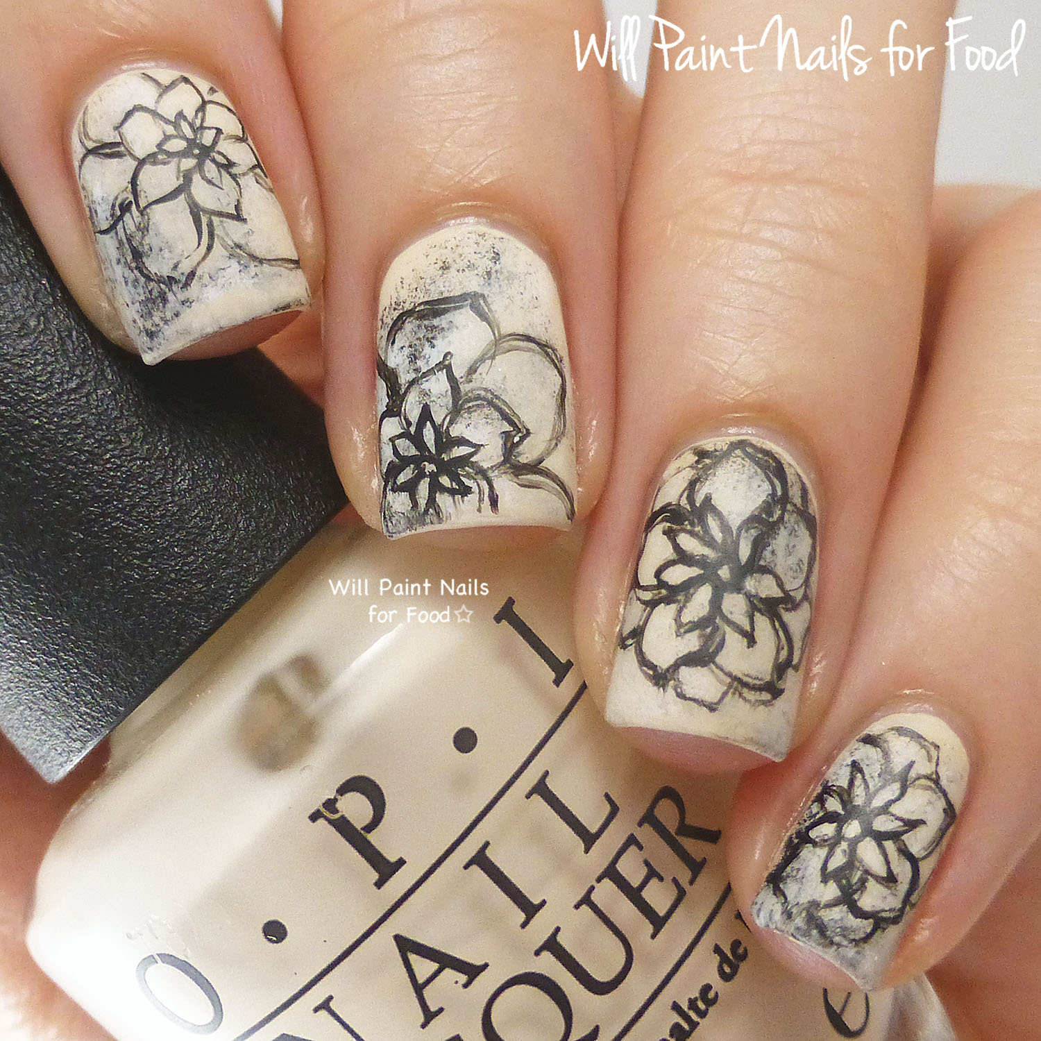 Freehand graphite flowers
