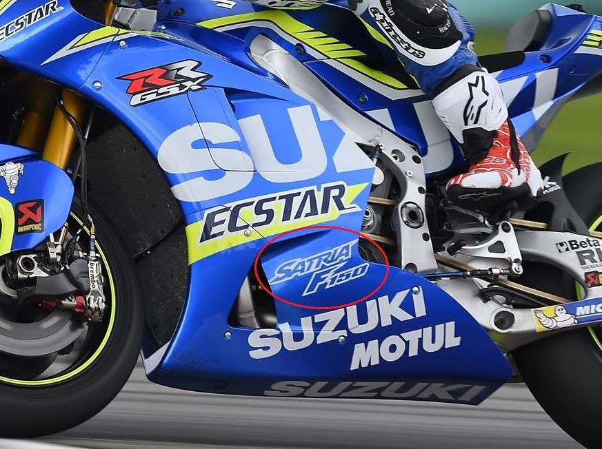 MotoGP : Iklan Suzuki Satria F150 dengan tagline nyalakan nyali terpampang jelas di tim Suzuki Ecstar MotoGP 2016 . .
