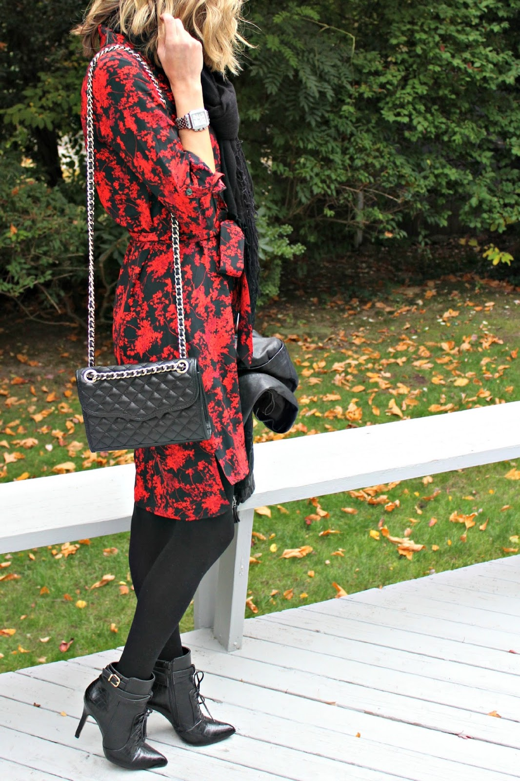 red and black fall look