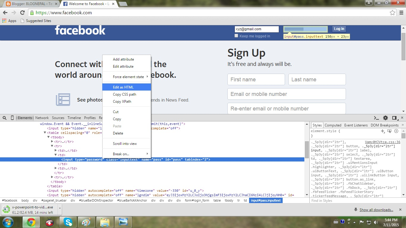 how to see the password in facebook