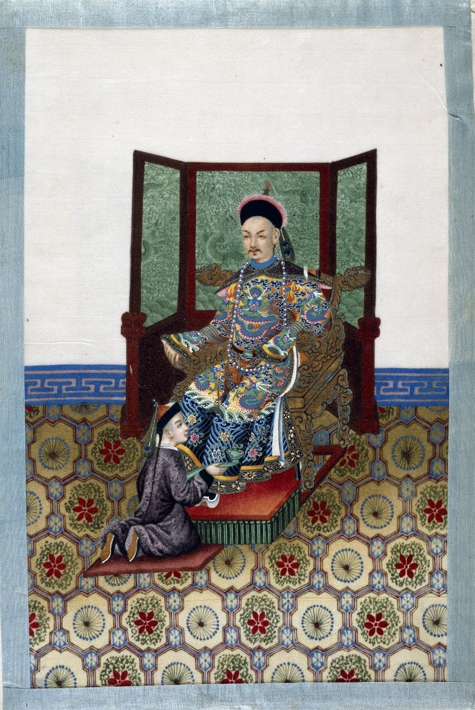 Chinese nobleman on throne and attendant