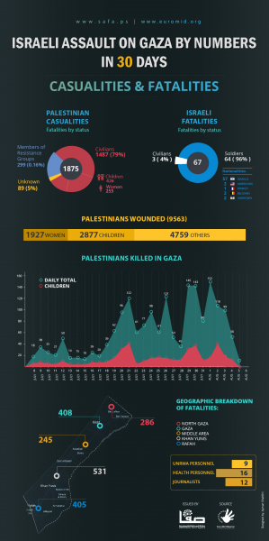 Israeli Assault on Gaza in numbers  (Source: Euro-Mid)