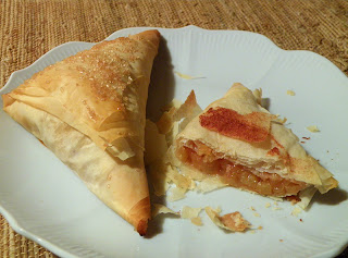 Two Turnovers on Plate, on Half-eaten