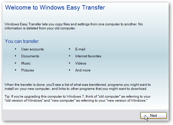 Windows XP Windows Easy Transfer