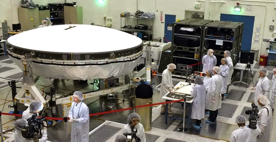 Members of the media got an up-close look at LDSD flight-test vehicles currently in preparation in the clean room at NASA-JPL on March 31. Image Credit: NASA/JPL-Caltech
