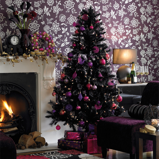 different hues of gold make this dining room look absolutely festive black christmas tree is balanced by the white and grays table setting in gold and - Purple And Gold Christmas Tree Decorations