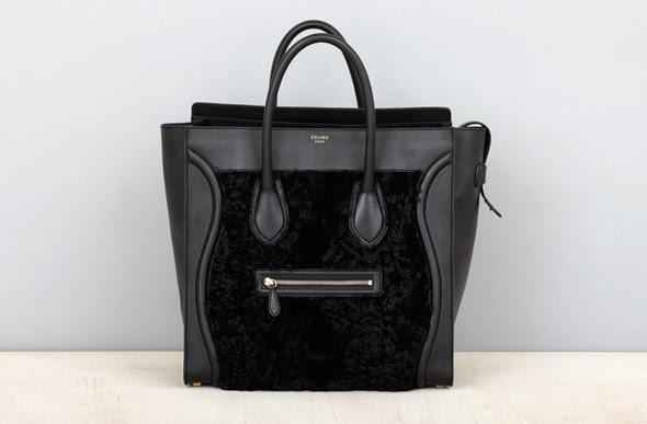 Celine black fur bag
