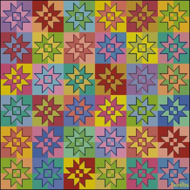 Схема.  Размер схемы: 218*218 крестиков Размер готовой работы на канве Аида 14: 40*40 см Количество цветов...