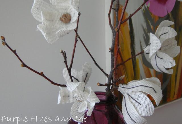 knockoff burlap Magnolia flowers    Purple Hues & Me