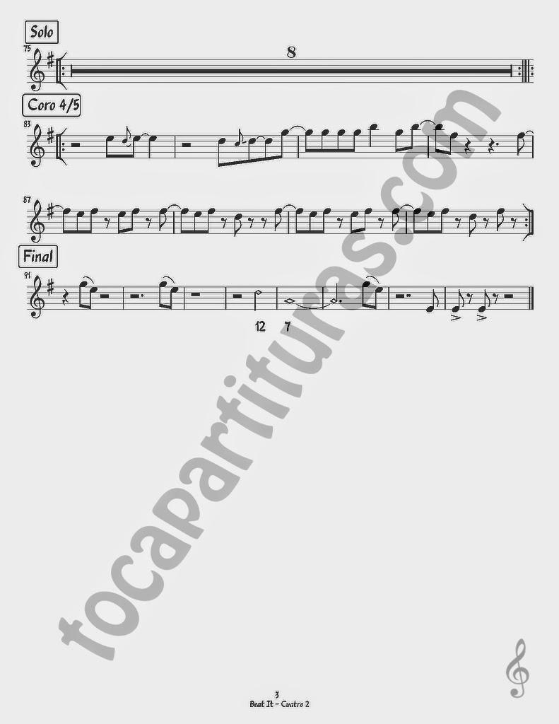 3  Partituras del Tema Beat It para Rondalla Arreglo para Cuatro 2 puertorriqueño