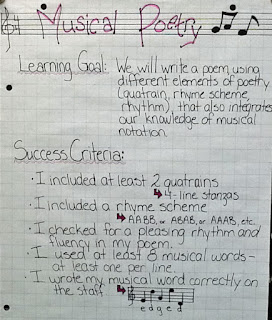 photo of Musical Poetry assignment poster @ Runde's Room