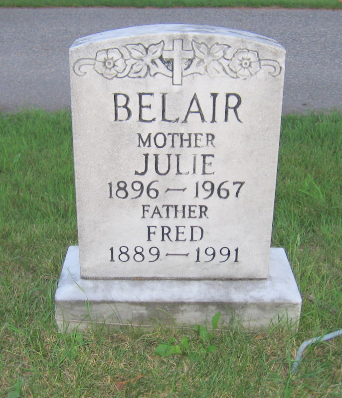 Fred and Julie Belair gravestone.