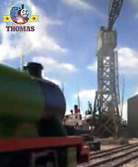 Train Henry the tank engine in Brendam dockyard Thomas & friends Cranky the crane was very tall