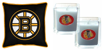 Boston Bruins NHL Sideline Toss Pillow / Chicago Blackhawks NHL Candle Set