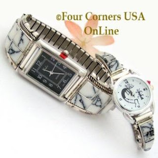 White Buffalo Inlay Watches for Men and Women Four Corners USA OnLine Native American Navajo Jewelry