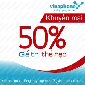 Vinaphone khuyến mãi 50% giá trị thẻ nạp ngày 30/06/2015
