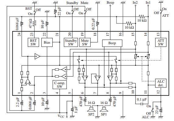 Amplifiercircuits features output coupling capacitor is not required center amplifier method built in bass boost amplifiers alc circuit built in mute circuit built in beep asfbconference2016 Gallery
