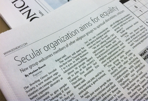 article about secular organization in student newspaper