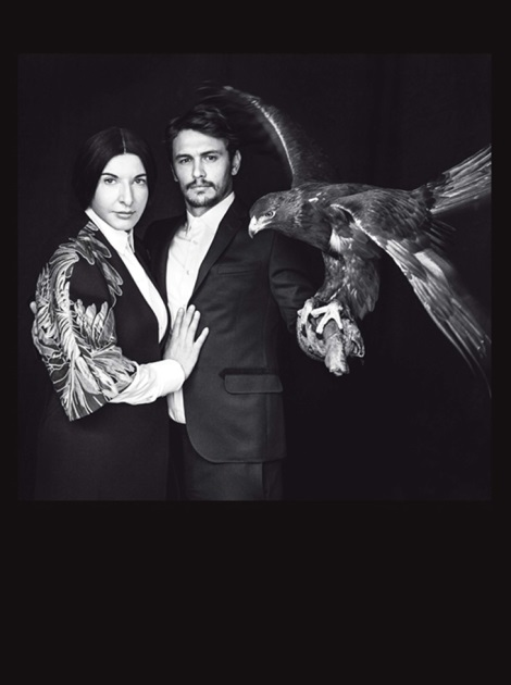 James Franco and Marina Abramovic in L'Uomo Vogue