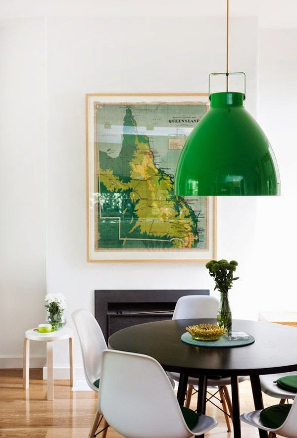 green map as dining room art