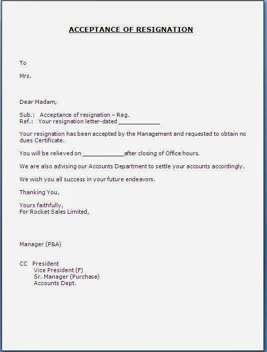 Acceptance Of Resignation Letter From Employee