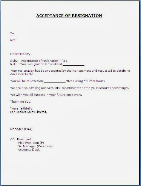 Click here for acceptance of resignation letter