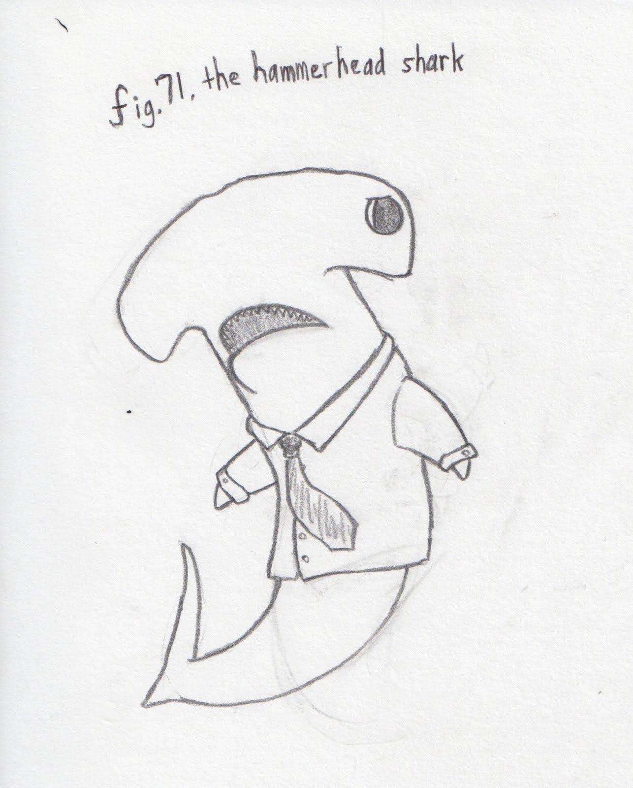 how to draw a 3d hammerhead shark